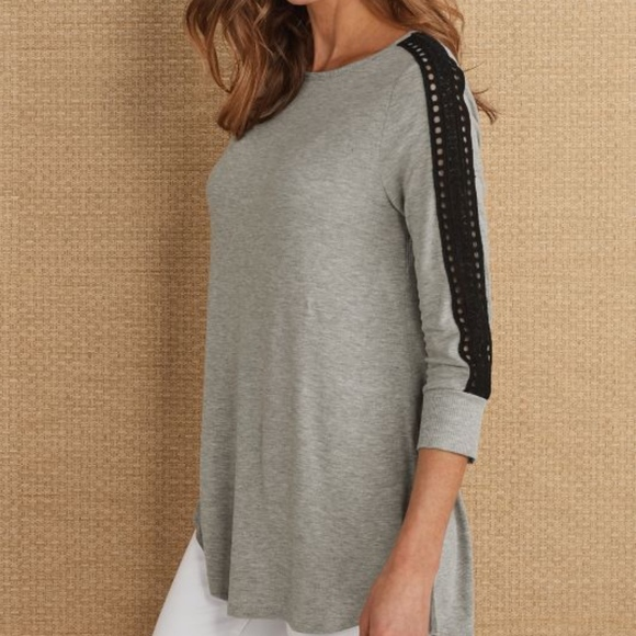 Soft Surroundings Tops - soft surroundings | gray cassidie 3/4 sleeve top